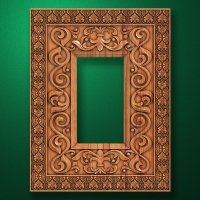 "Carved wood frame  ""Rectangular frame-015"""