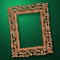 "Carved wood frame  ""Rectangular frame-020"""