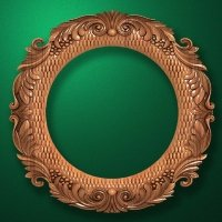 "Carved wood frame  ""Round frame-001"""