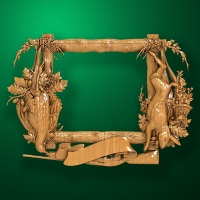 Wooden carved stylized frame for hunting trophy (Hunting assort)