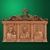Home carved iconostasis-triptych