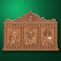 Carved iconostasis-triptych