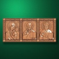 Travel carved iconostasis-triptich