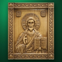 "Carved wood icon ""Christ Pantocrator"""