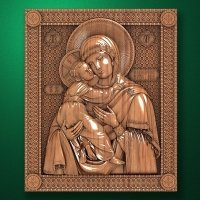 "Carved wood icon ""Mother of God"""