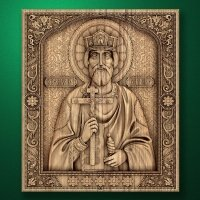 "Carved wood icon ""Holy Prince Vladimir"""