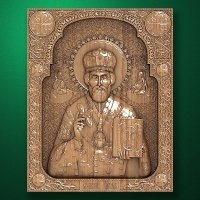 Carved wood icon of St. Nicholas the Wonderworker