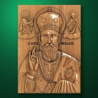 Carved wood icon of Saint Nicholas