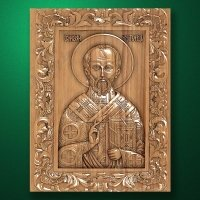 Carved wood icon Saint Nicholas Ugodnich