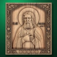 Carved wooden icon Saint Seraphim of Sarov