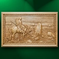 "Wood carved panel ""Knight at the Crossroads"""