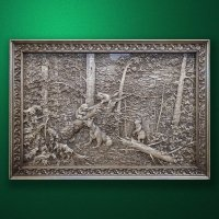 "Wood carved panel ""Morning in a pine forest"""
