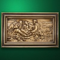 "Wood carved panel ""Hunters at Rest"""