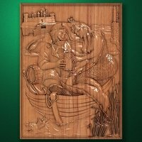 """Carved wood panel """"Fishing with a mermaid"""""""