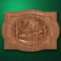 "Carved wood panel ""Rural water carier"""
