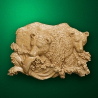 "Carved wood panno ""Bears fishing"""